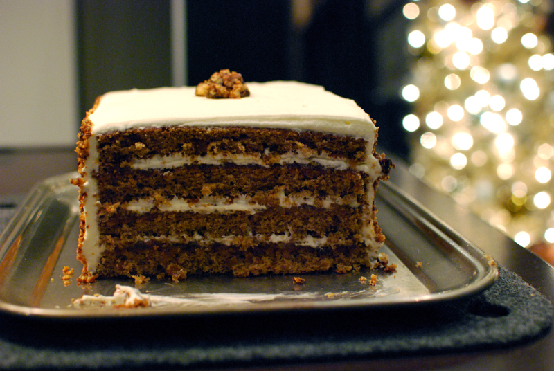 Anise Spice Cake with Crème Fraîche Frosting, Pineapple Jam, and Maple Walnuts