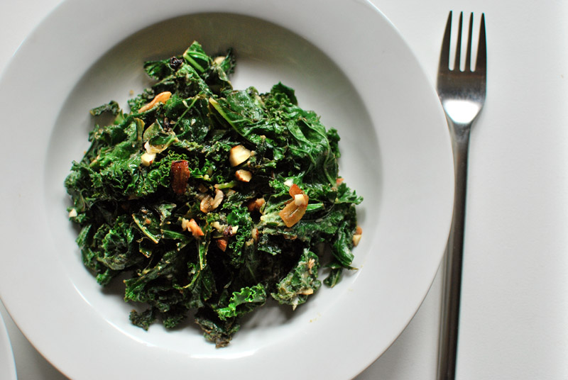 Sautéed Kale with Tahini and Currants