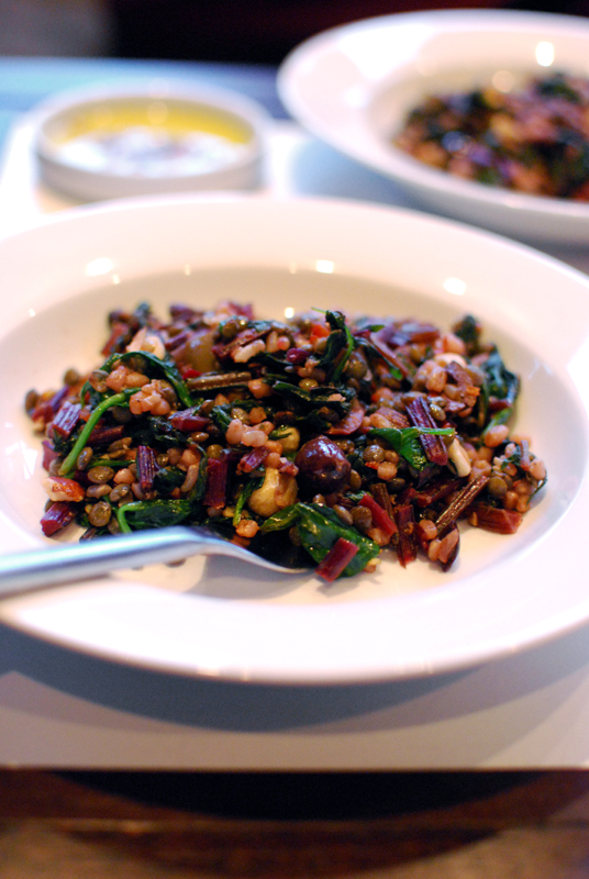 Spicy Wheatberries and Lentils with Beet Greens, Olives, and Hazelnuts