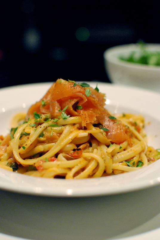 ersatz smoked salmon linguine alla vodka