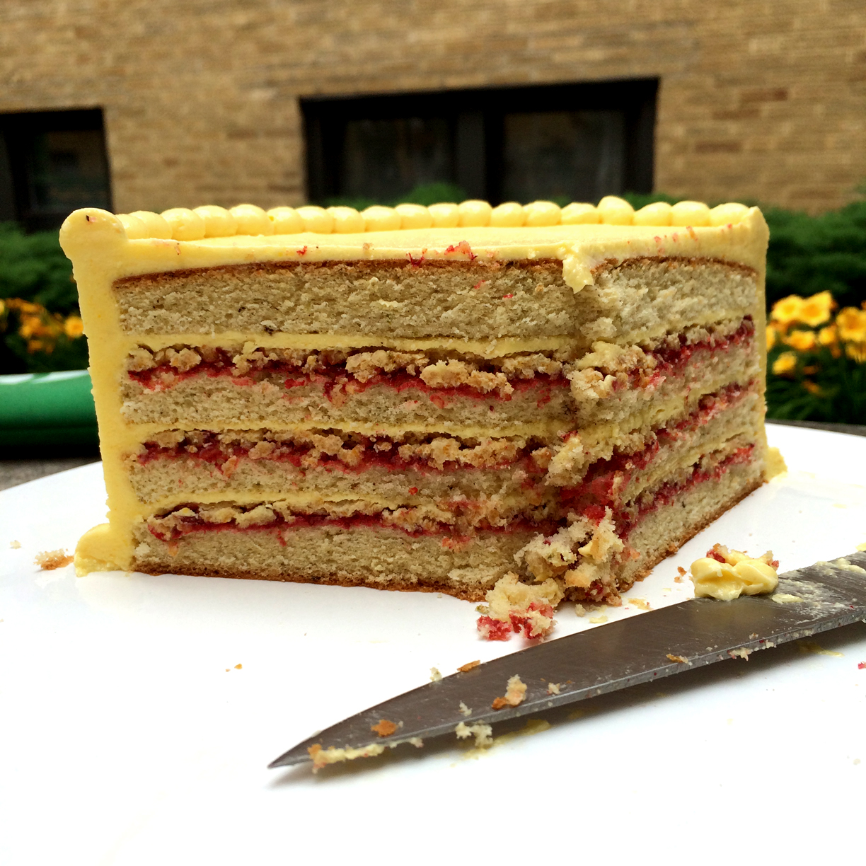 Brown Butter & Lime Cake, with Strawberry Jam, Cornflake Crunch, and Corn Buttercream